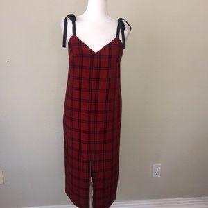 ZARA TRAFALUC spaghetti strap tie Flannel dress